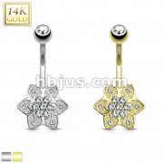 Gem Paved 6 Petals CZ Cluster Center 14 Karat Solid Gold Navel Ring