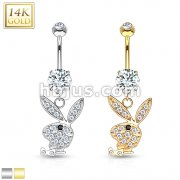 14kt Playboy Bunny Dangle Navel Ring