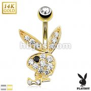 14kt Playboy Bunny with Paved Gem Navel Ring