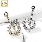 14Kt. Gold CZ Paved Hollow Heart Belly Button Navel Ring