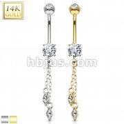 Hanging Jeweled Dangle 14 Karat Solid Yellow Gold CZ Prong Navel Ring