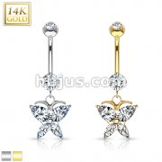 Marquise CZ Buttterfly Dangle 14 Karat Solid Gold Navel Ring