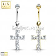 Cross Multi Gemmed Dangle with 14 Karat Solid Yellow Gold Navel Ring