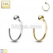 Ball Nose Hoop Ring 14 Karat Solid Gold