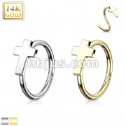 Cross 14 Karat Solid Yellow Gold Hoop Ring