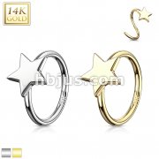 Star 14 Karat Solid Gold Hoop Ring