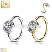 Ball CZ Hoop Ring 14 Karat SolidGold