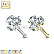 Three Prong Set Round CZ Triangle Nose Stud Ring 14 Karat Solid Gold