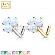 Three Prong Set Round Opal Triangle Nose Stud Ring 14 Karat Solid Gold