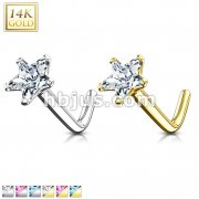 14Kt. Gold L Bend Nose Ring with Prong Set Star CZ