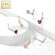 14Kt. Gold L Bend Nose Ring with Prong Set Heart CZ