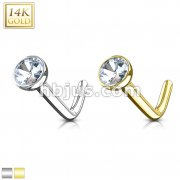 14Kt. Gold L Bend Nose Ring with Bezel Set CZ Ball