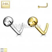 14Kt. Gold L Bend Nose Ring Solid Dome End