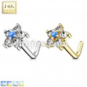 14Kt. Gold L Bend Nose Stud Rings with Opal Centered CZ Flower