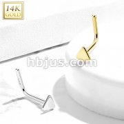 14Kt. Gold L Bend Nose Stud Rings with Flat Triangle Top