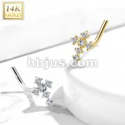 14Kt. Gold L Bend Nose Stud Rings with CZ Paved Cross Top