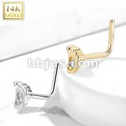 14Kt. Gold L Bend Nose Ring with Mircro CZ Center Set Baby Foot
