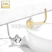 14Kt. Gold L Bend Nose Ring with CZ Accented Royal Crown
