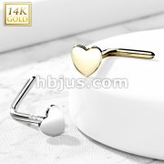 14K Gold Heart Top L Bend Nose Stud Rings