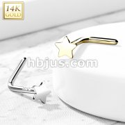 14K Gold Star Top L Bend Nose Stud Rings