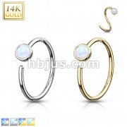 14 Kt. Gold Nose Hoop with Bezel Set Opal