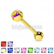 Gold Plated over 316L Surgical Steel Single Jeweled Barbell