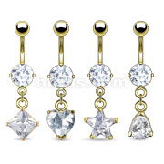 Dozen Pack of CZ Dangle 14kt Gold Plated Navel Ring