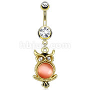 14kt Gold Plated Navel Ring with Cateye Gemmed Owl Dangle