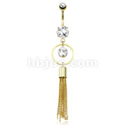 Large Round CZ Encircled by Round Ring with Extending Multi Chain Strings Dangle 14kt Gold Plated Navel Ring