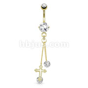 Cross with Large Round CZ Attached by Chain String 14kt Gold Plated Navel Ring