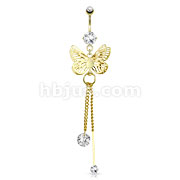 Butterfly Wings Overlapped and CZ Attached to Chain String Dangle 14kt Gold Plated Navel Ring