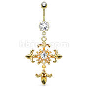 Fleur de Lis Cross with Centered Clear Gem Dangle 14kt Gold Plated Navel Ring