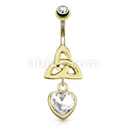 Celtic Knot with Single Encased Clear Gem Heart Dangle 14kt Gold Plated Navel Ring