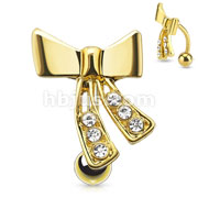 Ribbon with CZ Top Down Gold IP Over 316L Surgical Steel Navel Ring