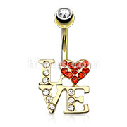 LOVE Logo with Paved CZs 316L Surgical Steel Navel Ring