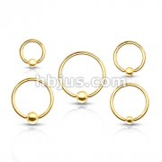 100 Pcs Gold Plated Over 316L Surgical Steel Captive Bead Rings Bulk Pack (20 Pcs x 5 Sizes)