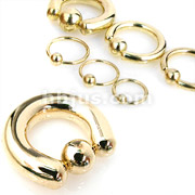 Captive Bead Rings Gold IP Over 316L Surgical Stainless Steel
