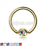 Gold Plated Over 316L Surgical Steel Ring with Press Fit Gem Set Ball