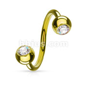 Twist Ring with Gem Balls Gold IP Over 316L Surgical Stainless steel
