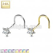 Star Prong CZ Nose Screw Ring 14 Karat Solid Gold