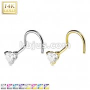 Heart Prong CZ Nose Screw Ring 14 Karat Solid Gold