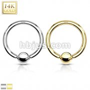 Captive Bead Ring 14 Karat Solid Gold