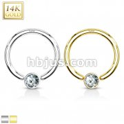CZ Set Gem Ball Captive Bead Ring 14 Karat Solid Yellow Gold
