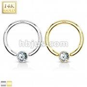14K Gold CZ Set Gem Ball Captive Bead Ring