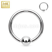14Kt. White Gold Fixed Ball Hoop Ring. Never Loose a Ball.