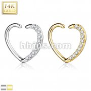 14Kt. Gold CZ Paved Heart Shape Ear Cartilage, Daith Hoop for Left Ea