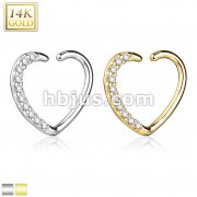14Kt. Gold CZ Paved Heart Shape Ear Cartilage, Daith Hoop for Righ Ear