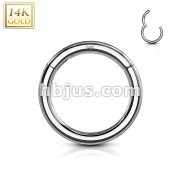 High Quality Precision 14 Karat Solid White Gold Hinged Segment Rings