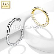 14Kt. Gold CZ Paved half Circle Hinged Hoop Rings for Nose Septum, Daith and More