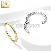 14K Gold Braided Hinged Hoop Rings for Ear Cartilage, Nose Septum and More